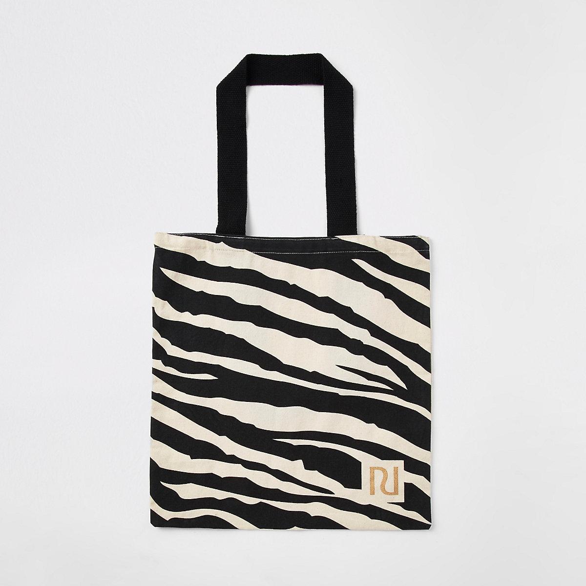 Beige duurzame tas met zebraprint