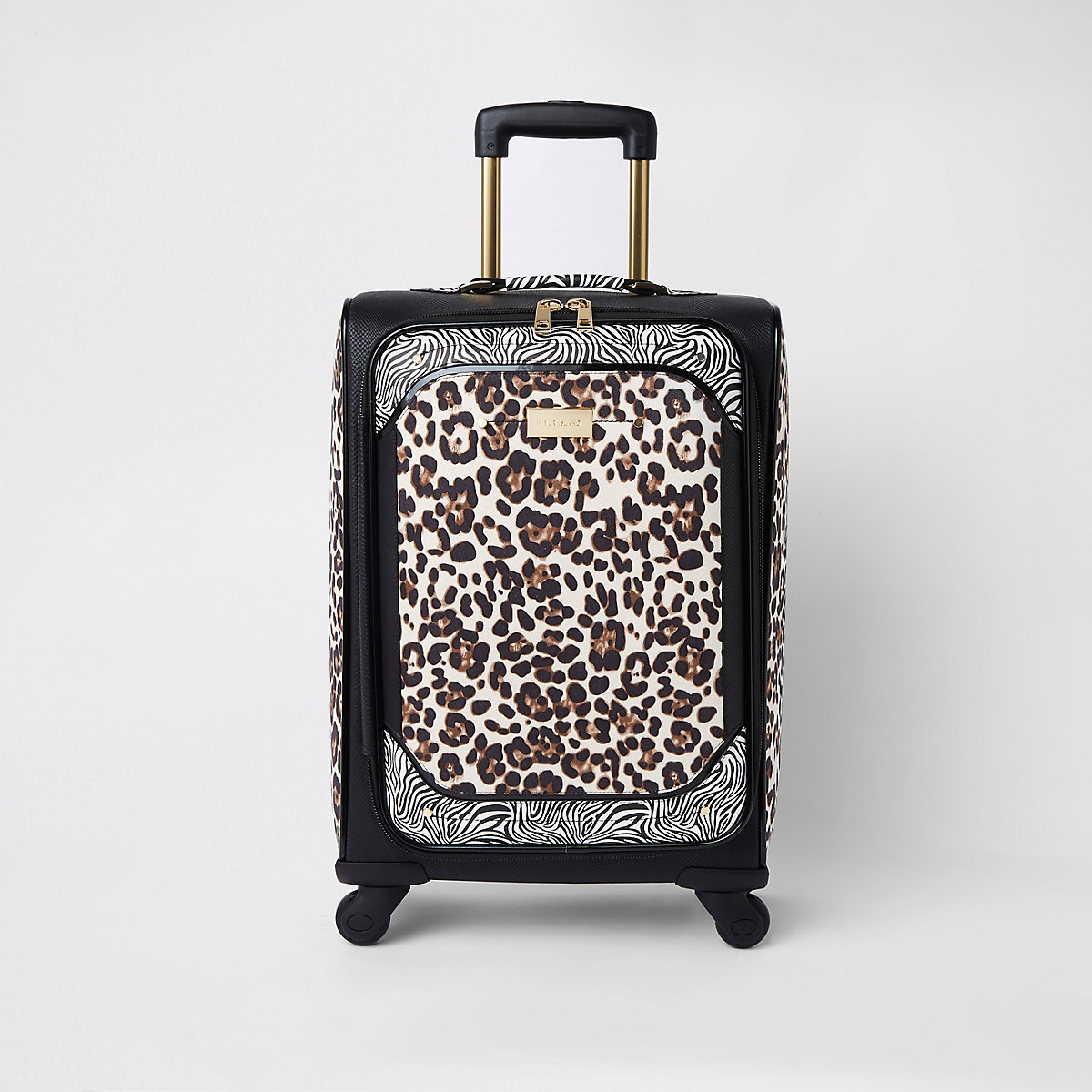 Zwarte koffer met vier wielen en dierenprint