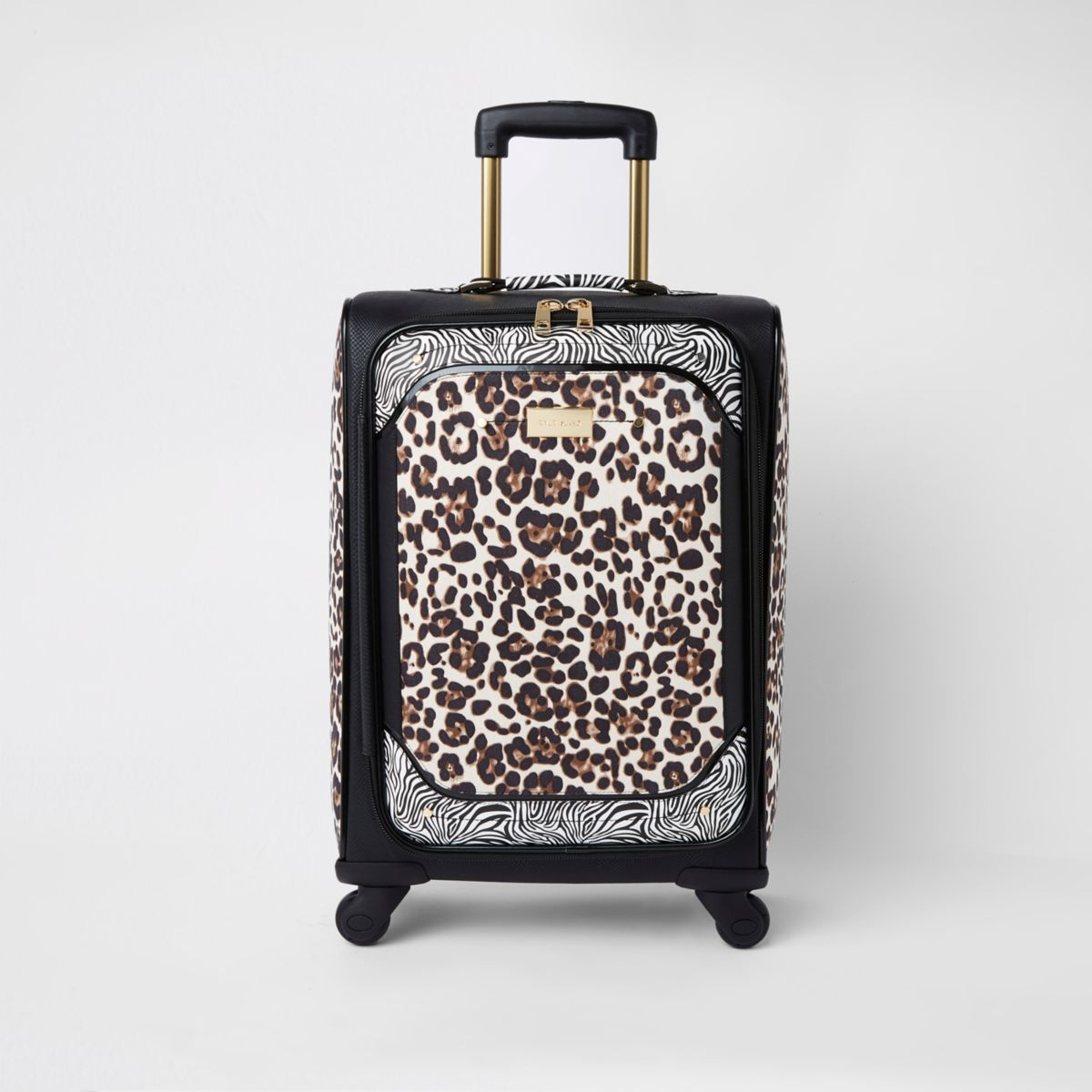 Black animal print four wheel suitcase