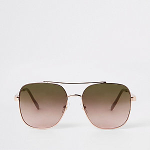 Gold tone square aviator sunglasses