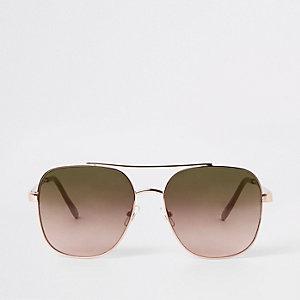 Rechteckige, goldene Pilotensonnenbrille