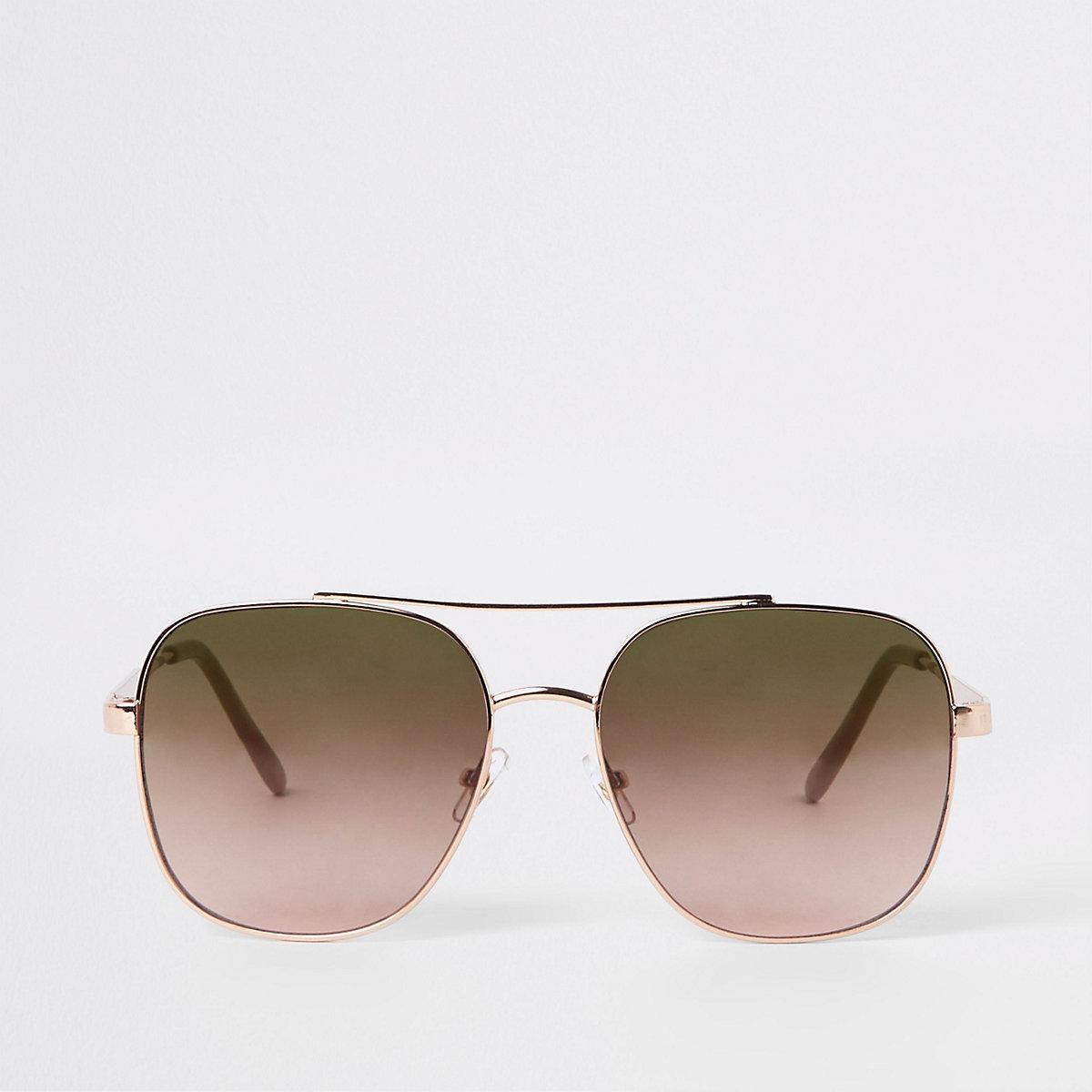 Gold tone square aviator sunglasses