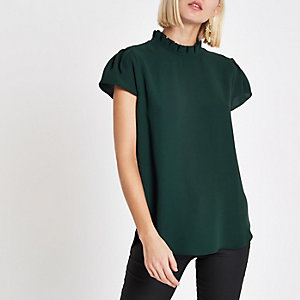 Dark green frill neck shell top