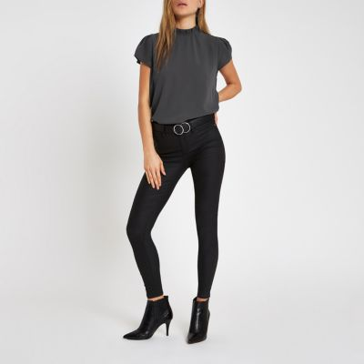 Dark Grey Frill Neck Shell Top by River Island