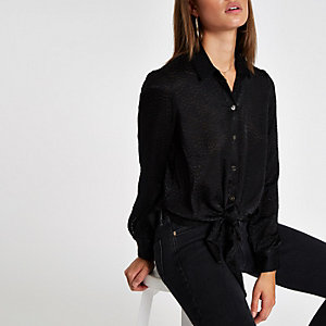 Black tie front loose shirt
