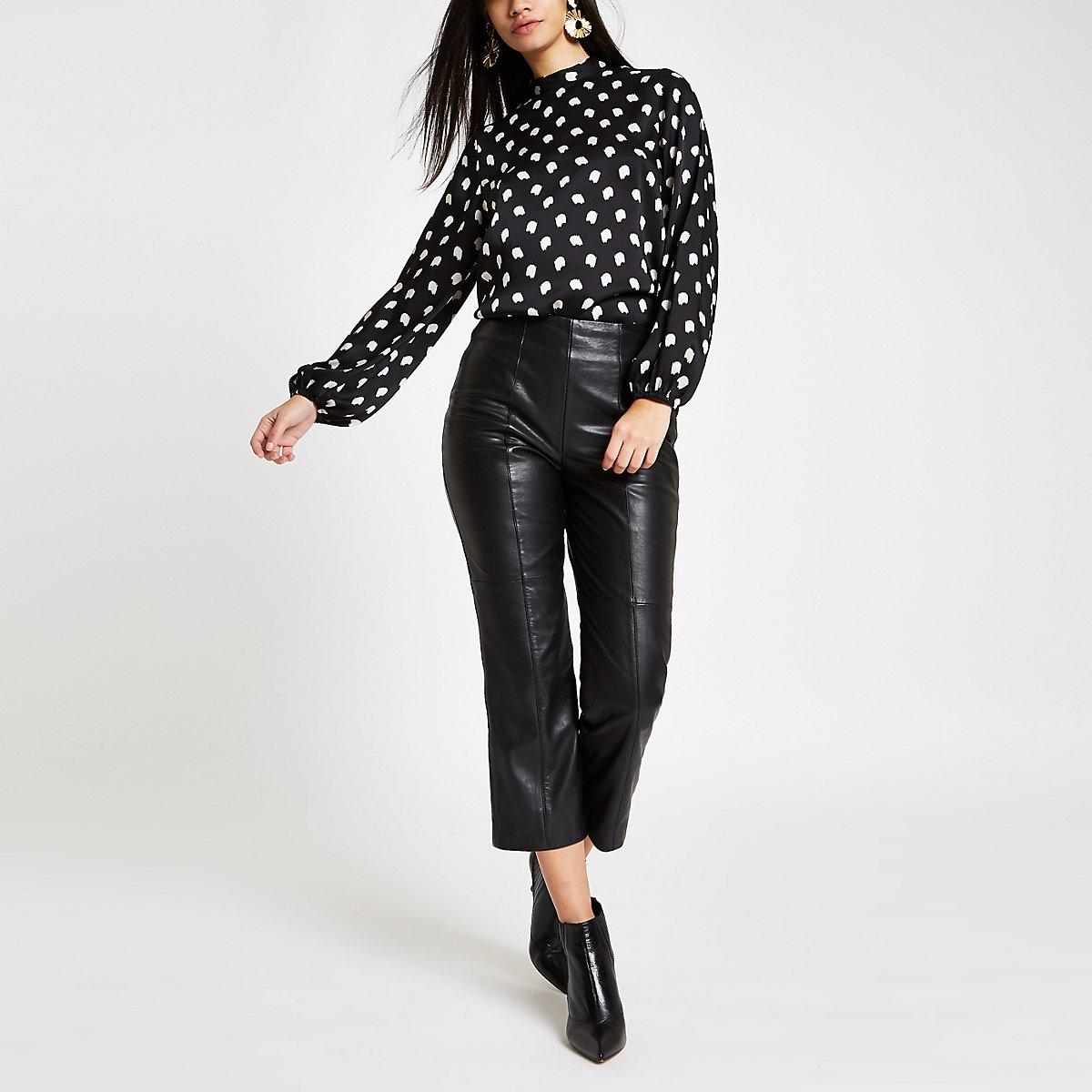 Black spot high neck blouse