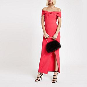 Robe longue moulante Bardot rose