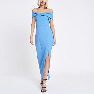 Robe longue moulante Bardot bleue