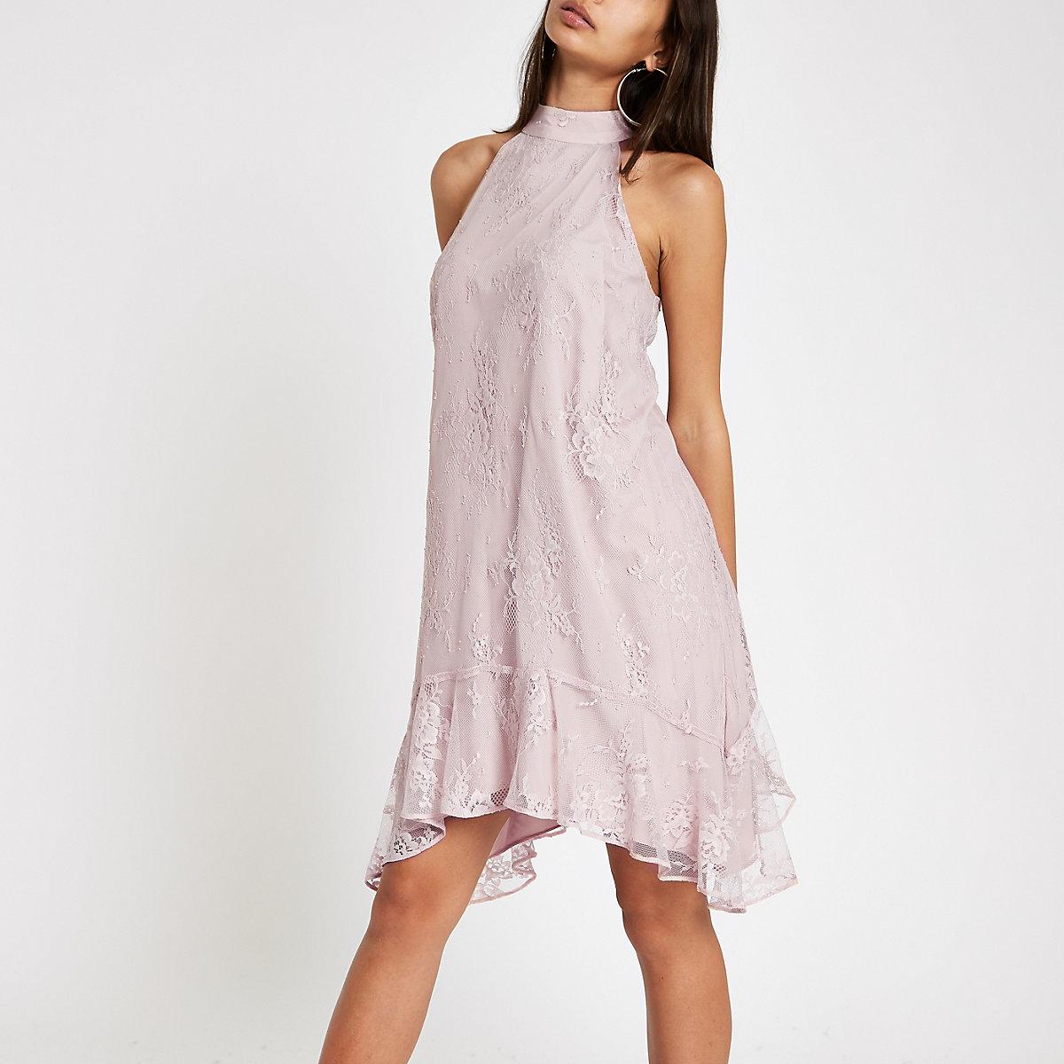 Pink lace frill hem halter neck swing dress