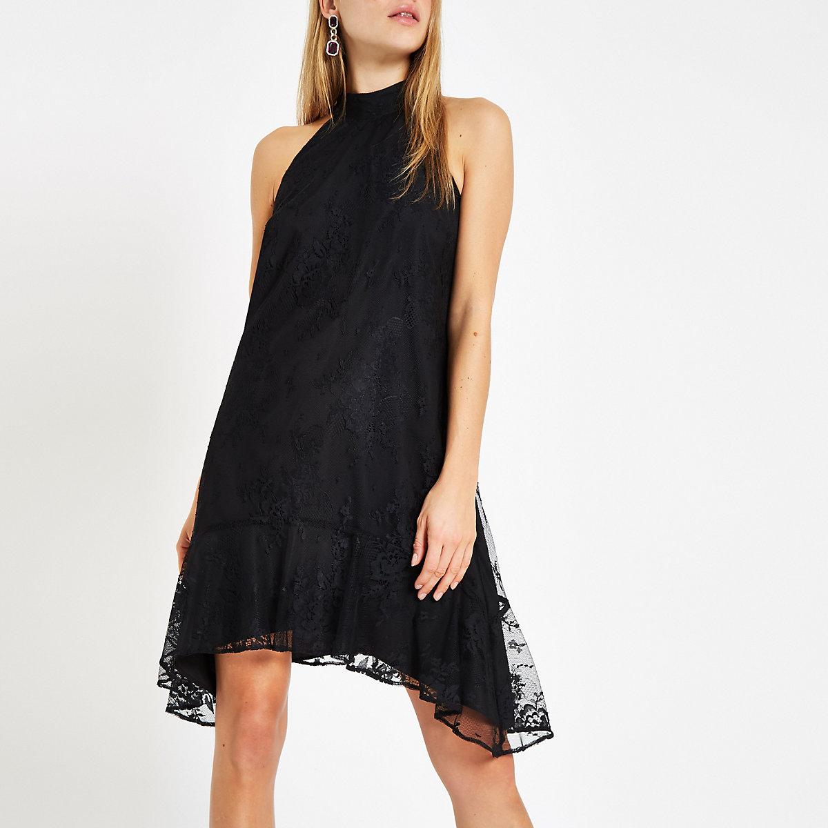 Black lace halter neck swing dress
