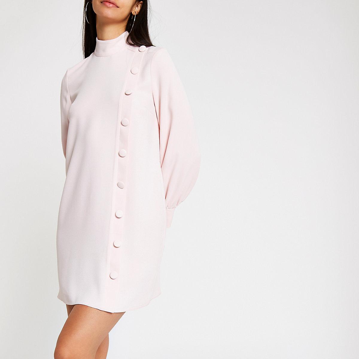 Light pink button front swing dress
