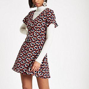 Marineblaues Kleid mit Herz-Print