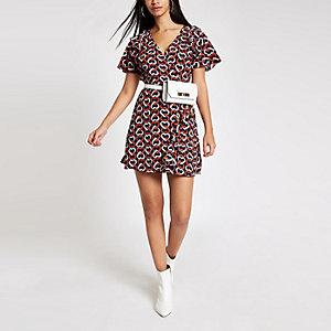 Navy print tie waist mini dress