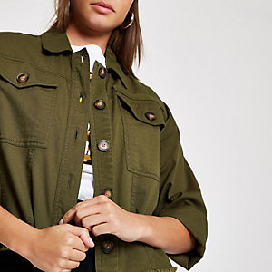 Khaki cropped fluro stitched cropped shacket
