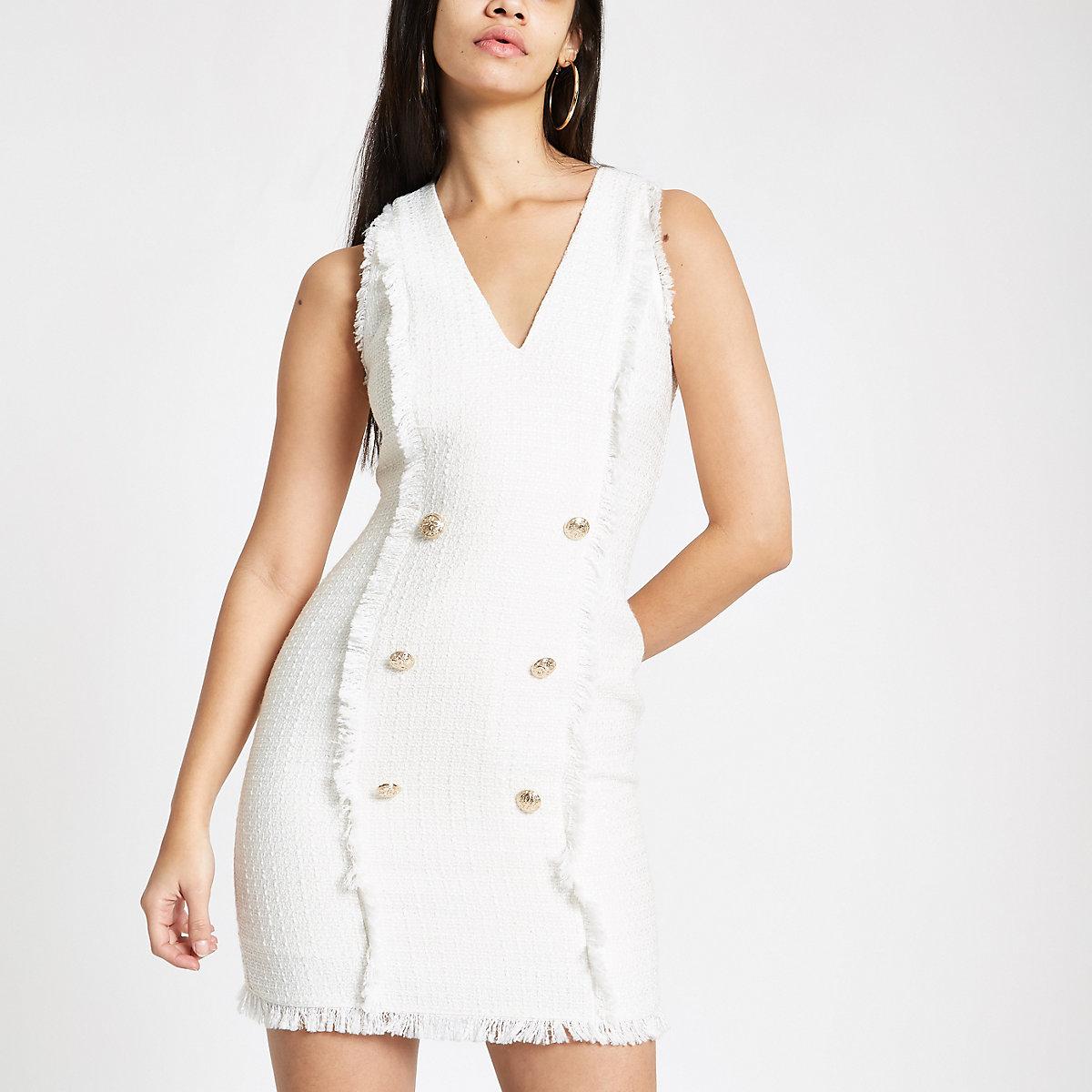 White boucle mini bodycon dress