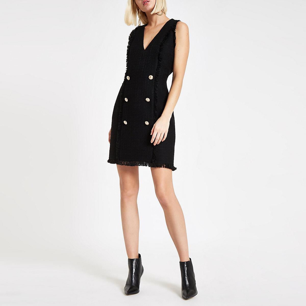 Zwarte bouclé mini-jurk met franje aan de zoom