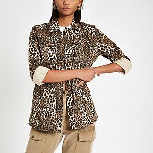 Veste militaire à imprimé léopard marron