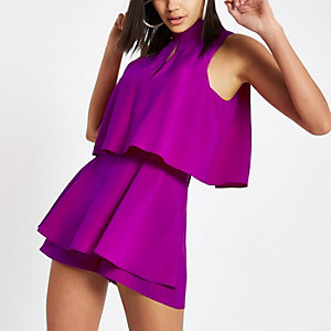 Purple high neck tiered frill playsuit