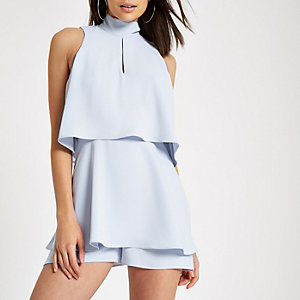 Light blue high neck tiered frill playsuit