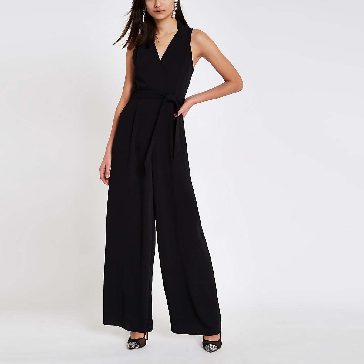 Black wrap tie front jumpsuit