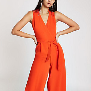 Red wrap tie front jumpsuit