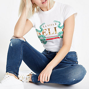 White 'Belle' fitted T-shirt