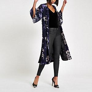 Navy floral tie waist kimono