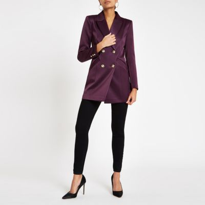 Paarse Satijnen Double Breasted Blazer by River Island
