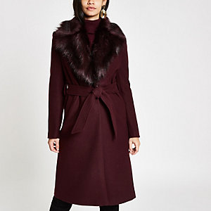 Dark red faux fur trim belted robe coat