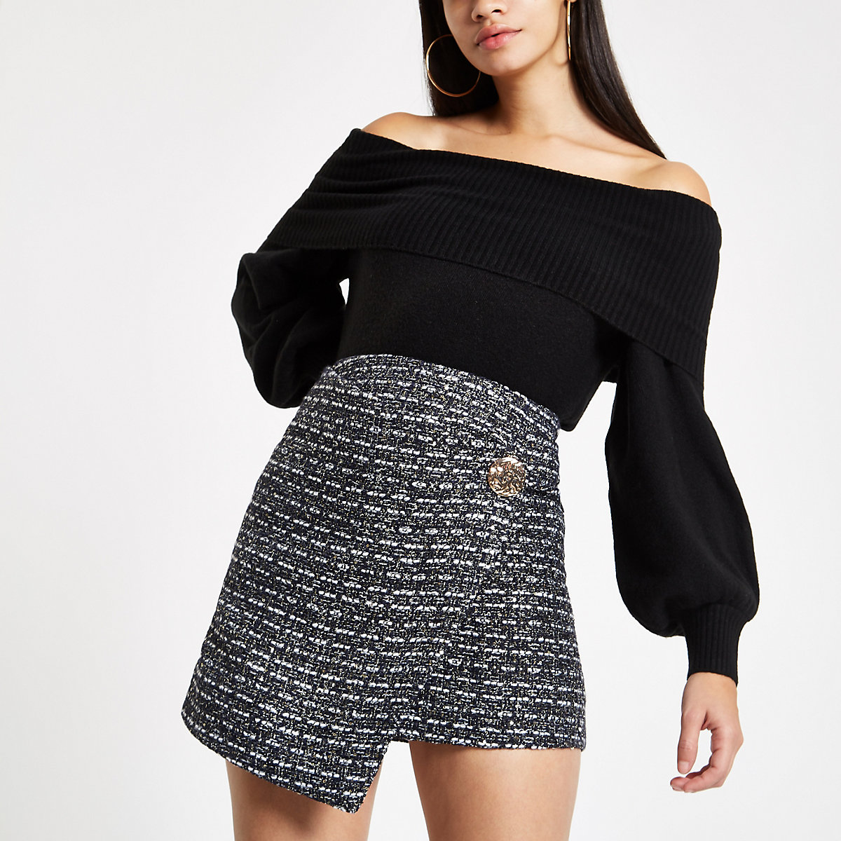 Navy boucle wrap front skirt