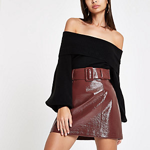 Burgundy vinyl belted mini skirt