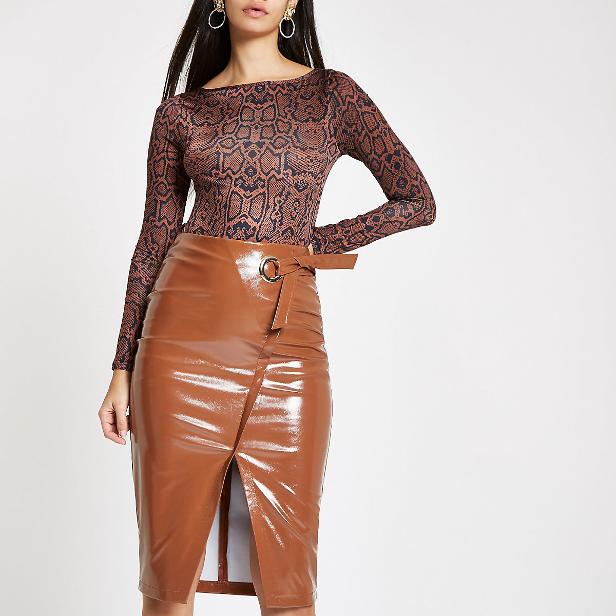 Brown peyton wrap vinyl pencil skirt