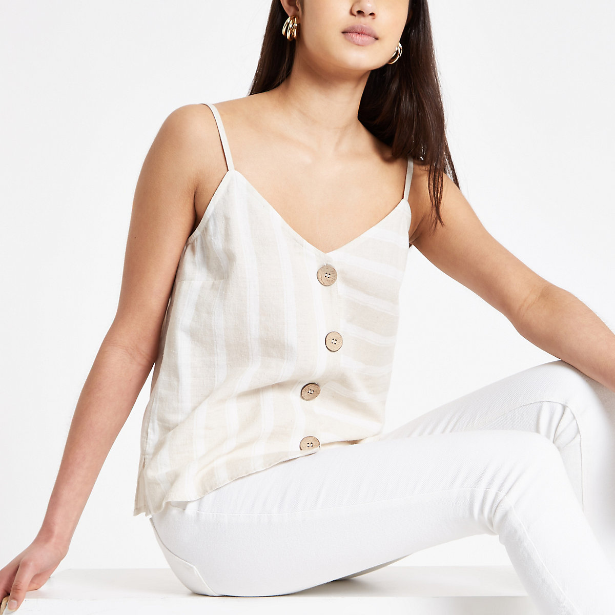 Light brown stripe button front vest top