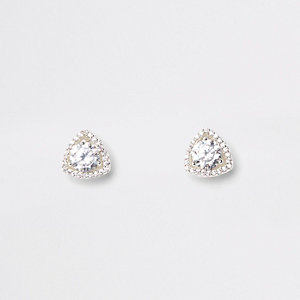 Silver tone cubic zirconia triangle earrings