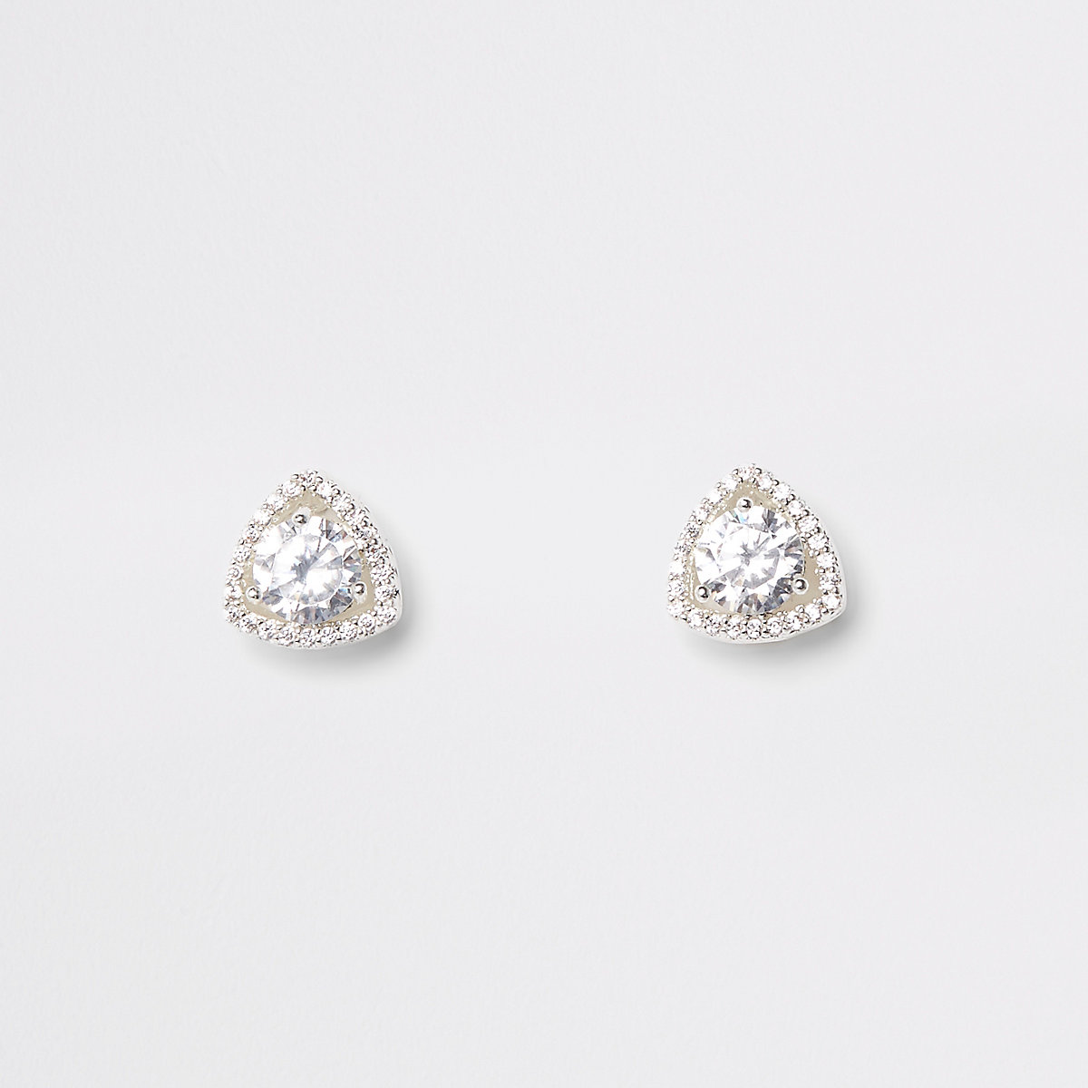 Silver plate cubic zirconia triangle earrings