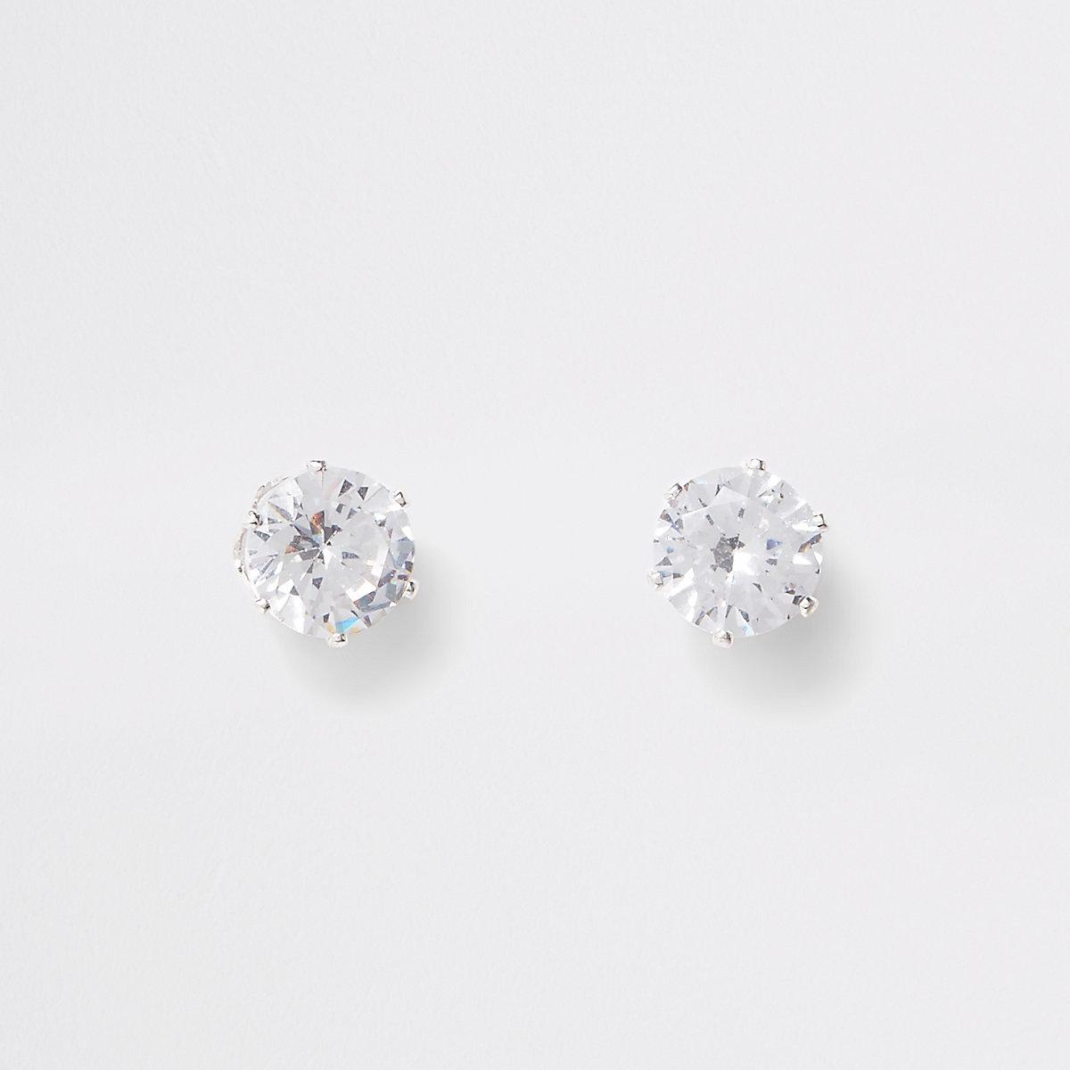 Silver plated cubic zirconia stud earrings