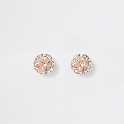 Rose Gold Tone Diamante Stone Earrings by River Island