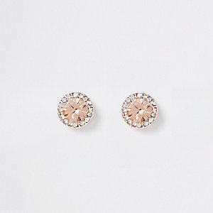 Rose gold tone diamante stone earrings