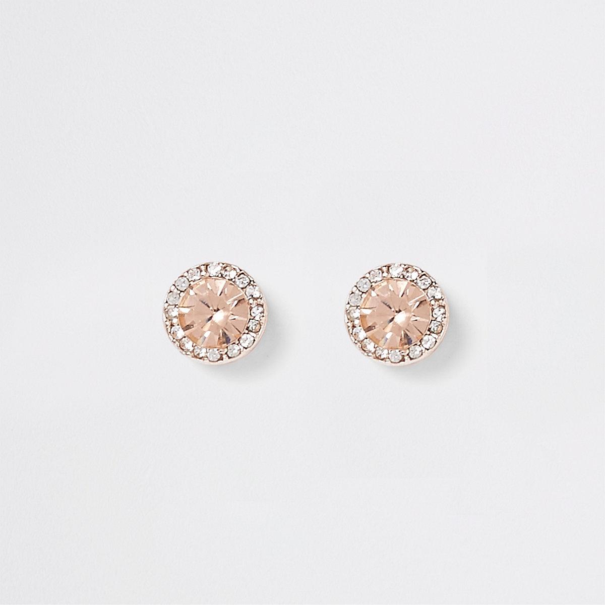 Rose gold tone diamante stone earrings