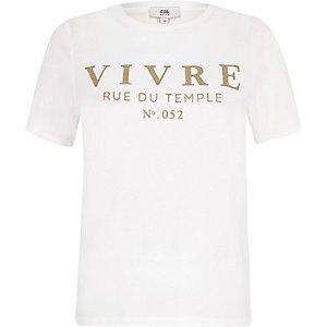 Petite white 'Vivre' glitter T-shirt