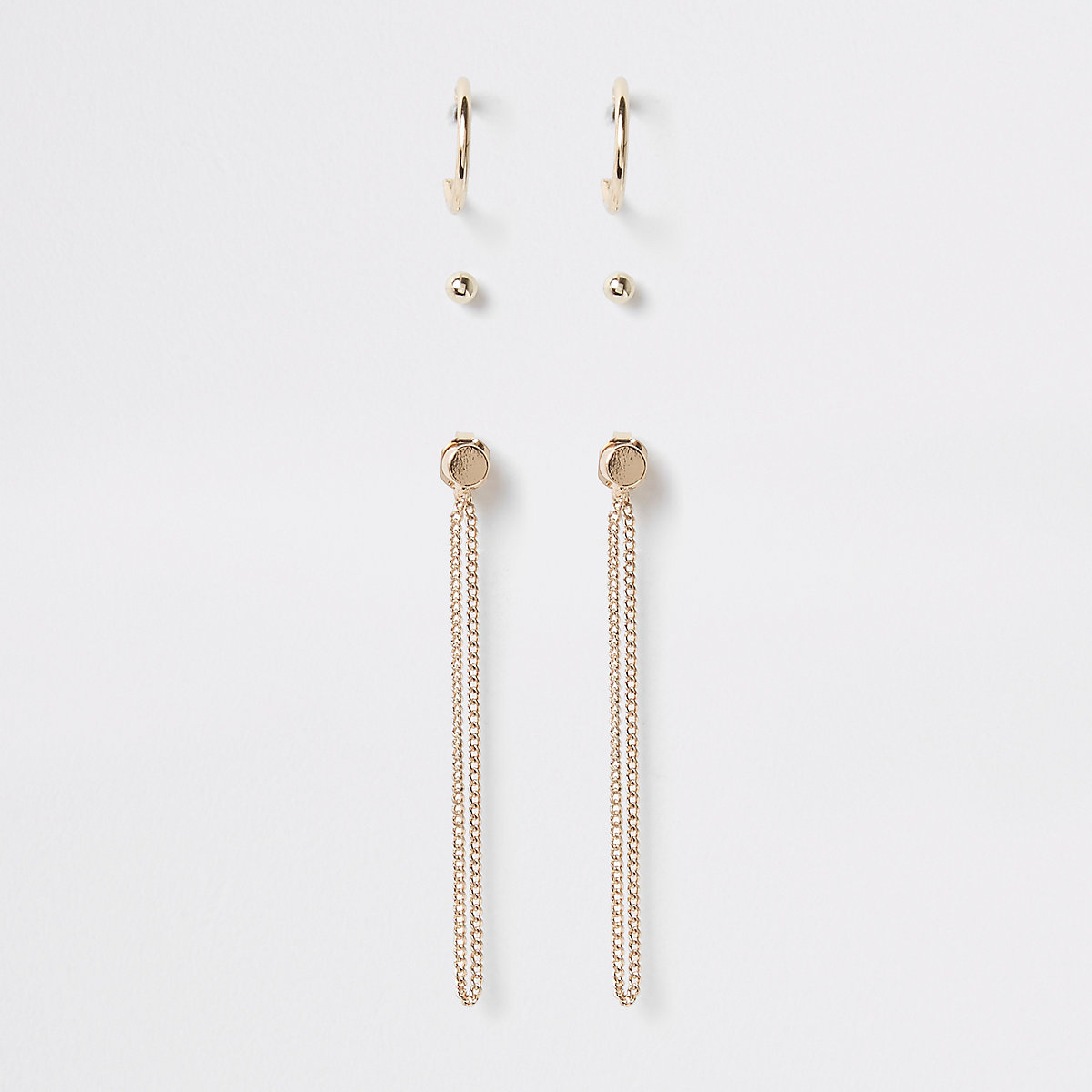 Gold tone mixed earring multipack