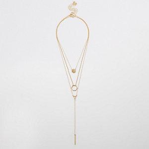 Parure avec collier doré avec pendentif hexagonal