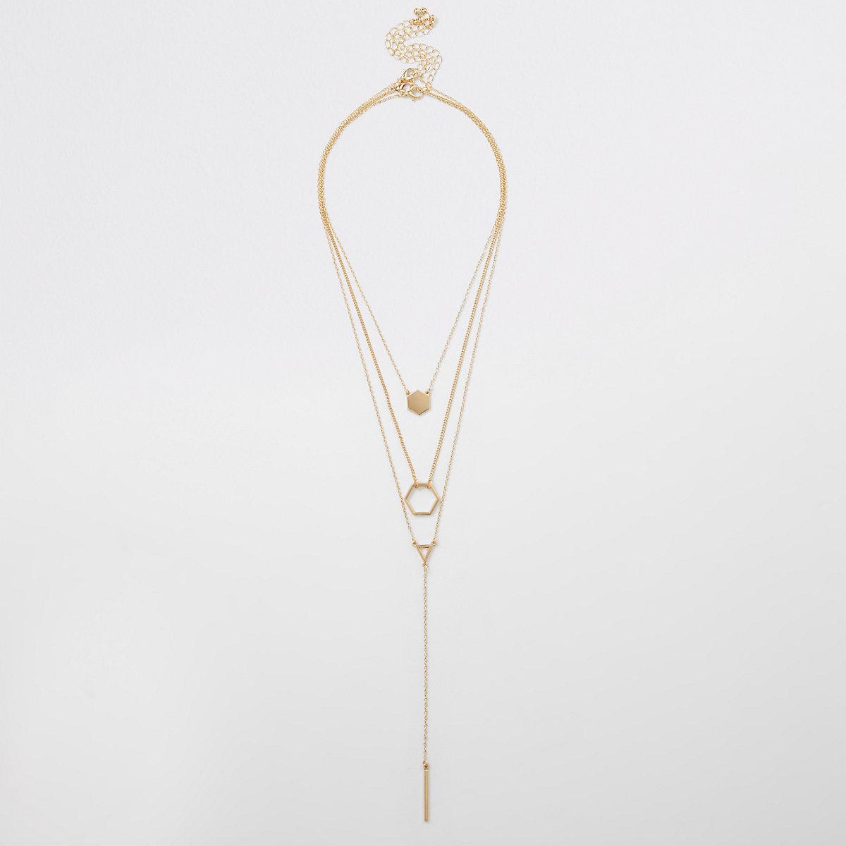 Gold colour hexagonal pendant necklace pack