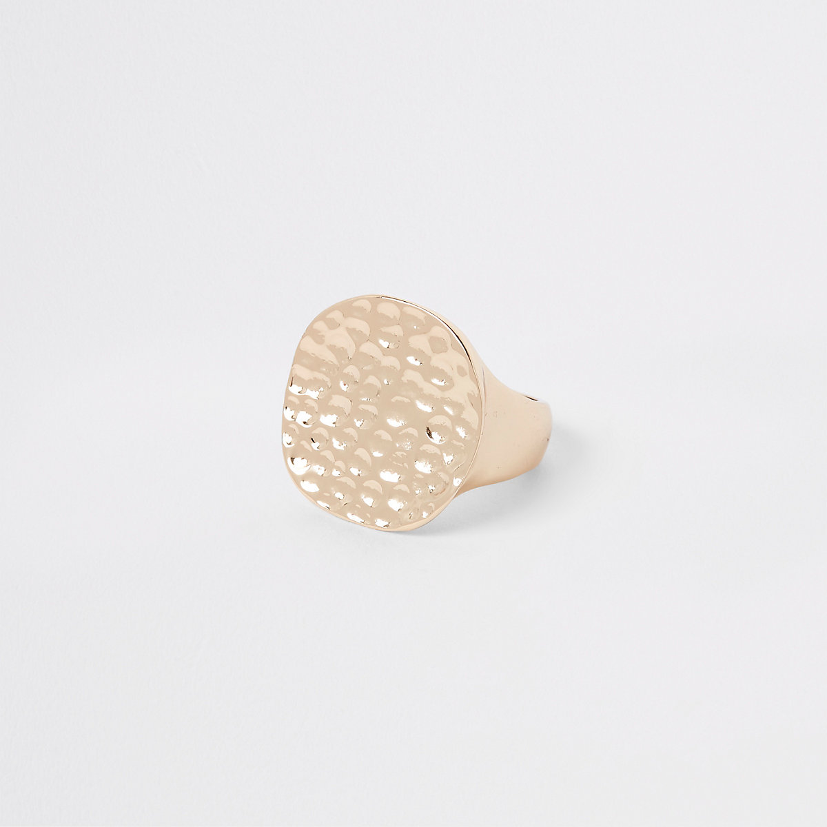 Gold color chunky battered disc ring