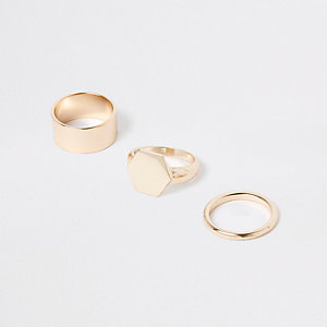Gold colour  chunky hexagon ring pack
