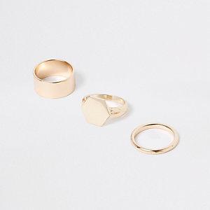 Set goudkleurige stevige hexagonale ringen