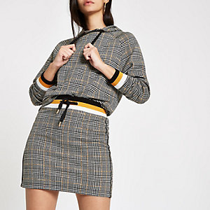 Brown jersey check mini skirt