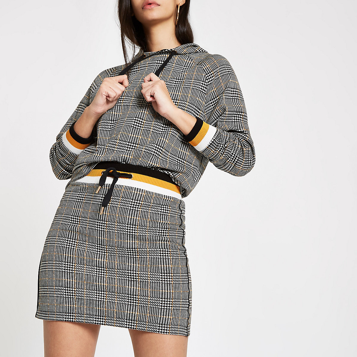 Brown jersey check mini skirt