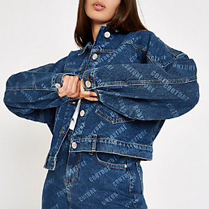 Denim 'Couture' monogram print denim jacket
