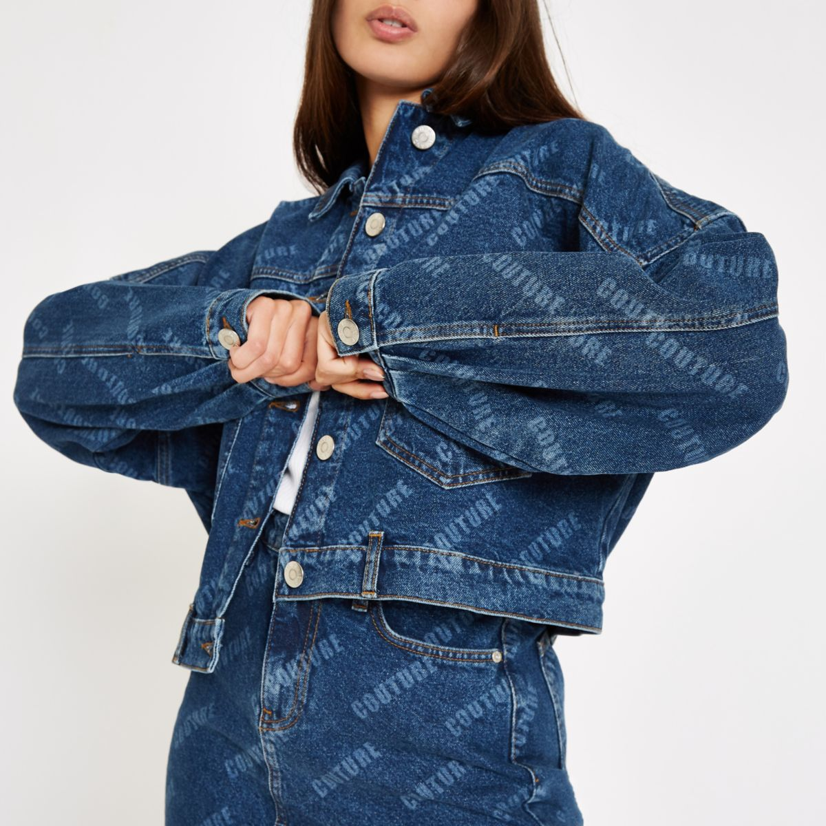 Denim 'Couture' monogram print denim jacket